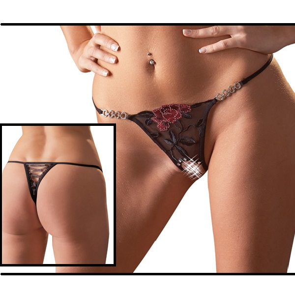 1673 – COTTELLI – THONG SPARKLE RED ROSE OUVERT STRING 1