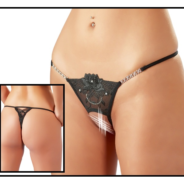 1815 – COTTELLI – THONG SEXY BLACK ROSE OUVERT STRING 1