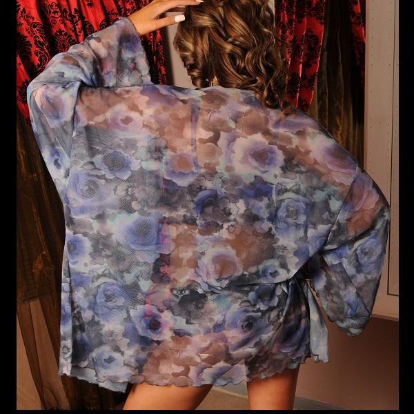 2607 – PP – SHORT MESH GOWN floral blue 3