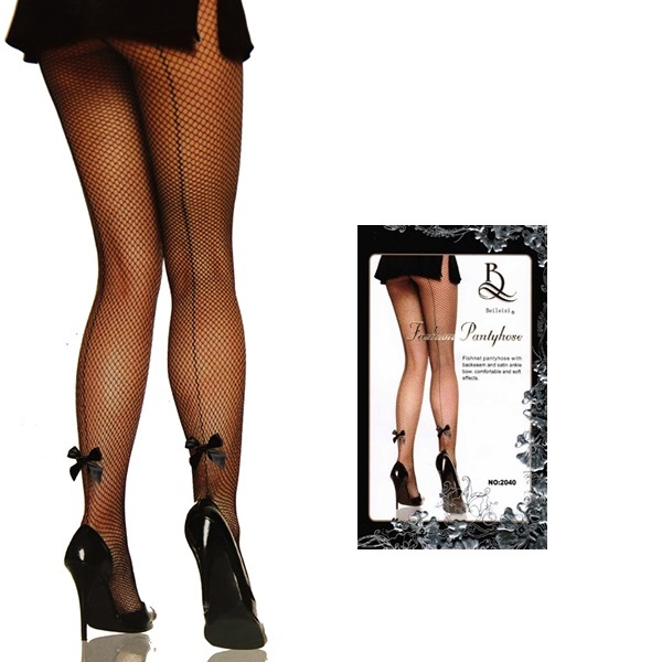 2516 – BEILEISI – PANTYHOSE – FISHNET WITH LYCRA SEAM AND SATIN BOW 1