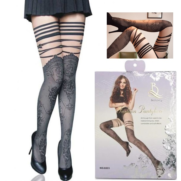 BEILEISI – PANTYHOSE – SHEER WITH RIBBON DETAIL