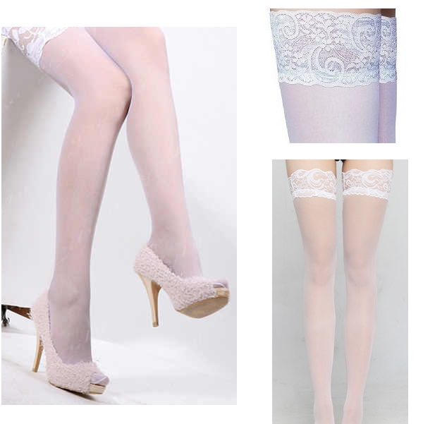 3131 – BEILEISI – THIGH HIGHS – WHITE SHEER WITH SILICON LACE TOP No 2072 2