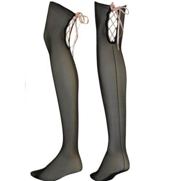 3236 – luxi – THIGH HIGHS – BLACK STRIPE & PINK BOW no 6014 2