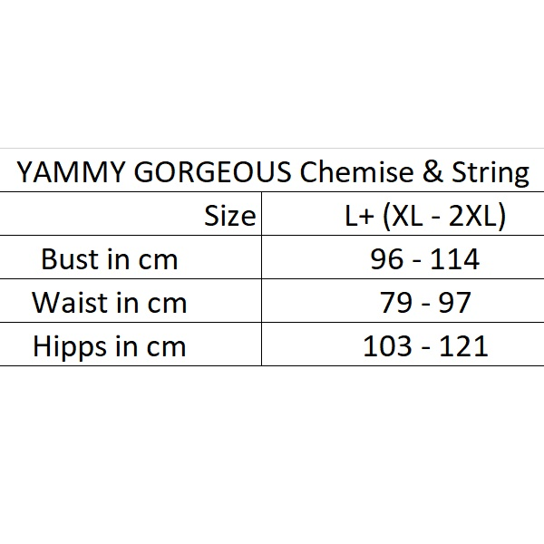 1347 – Anais Georgeous+ Yammy SIZE CHART