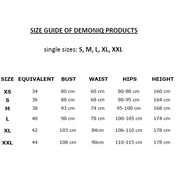 DEMONIQ SIZE CHART SINGLE SIZES