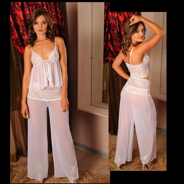 3632 – PP Lingerie – Short Babydoll with Long Mesh Pants Set 1