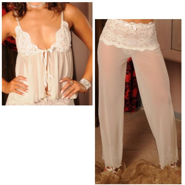 3632 – PP Lingerie – Short Babydoll with Long Mesh Pants Set crm
