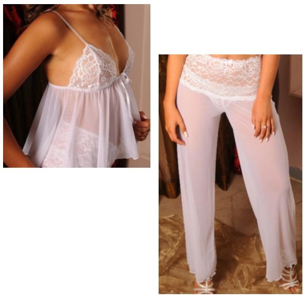 3632 – PP Lingerie – Short Babydoll with Long Mesh Pants Set wht