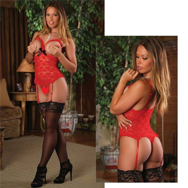 Red Lace Ouvert Teddy 1