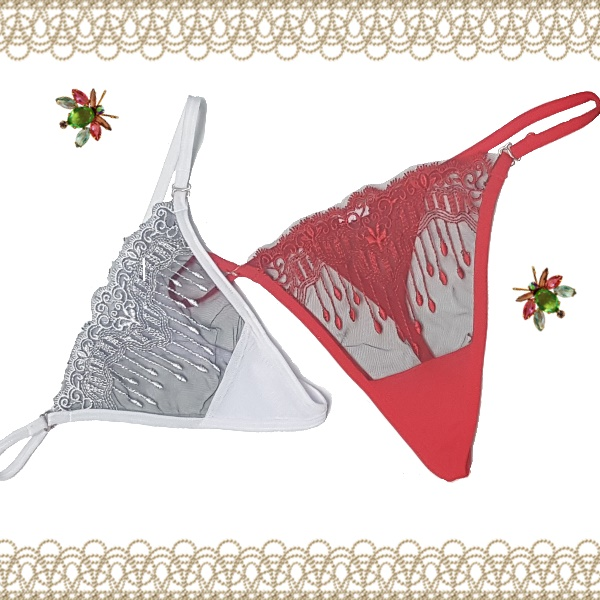 2036 – Embroided Mesh Thong 1