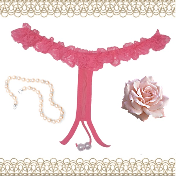 2038 – Coral Lace and Pearl Crotchless Thong 2
